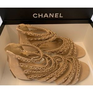 Chanel Nude Chain Sandals